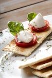 Caprese沙拉用水牛牛奶无盐干酪 免版税图库摄影