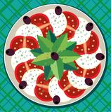 caprese σαλάτα πιάτων Στοκ φωτογραφία με δικαίωμα ελεύθερης χρήσης