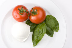 Caprese. Tomatoe, basil and mozarella cheese Royalty Free Stock Images