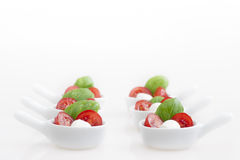 Caprese Appetizers on White royalty free stock images