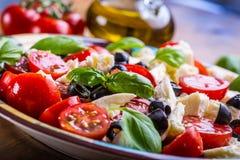 Caprese caprese沙拉 意大利沙拉 地中海沙拉 carpaccio烹调非常好的食物意大利生活方式豪华 地中海烹调 库存照片