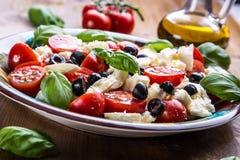 Caprese caprese沙拉 意大利沙拉 地中海沙拉 carpaccio烹调非常好的食物意大利生活方式豪华 地中海烹调 库存图片
