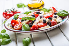 Caprese Caprese Salat Italienischer Salat Griechischer Salat lokalisiert auf einem weißen Hintergrund Italienische Küche Frische  Lizenzfreies Stockbild
