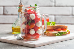 Caprese in a jar for lunch. Stock Image