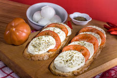 Caprese - Mozzarella cheese and tomatoes Royalty Free Stock Photography