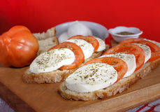 Caprese - Mozzarella cheese and tomatoes Stock Photos