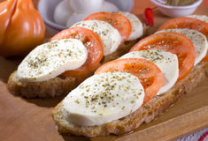 Caprese - Mozzarella cheese and tomatoes Stock Images