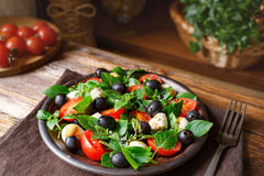 Caprese with mozzarella, tomatoes, basil and olives. Classic Italian salad. Classic Italian salad with mozzarella, tomatoes, basil, olives and olive oil royalty free stock image