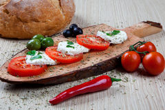 Caprese with olives Royalty Free Stock Photos