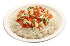 Caprese rice - isolated. A mediterranean recipe of rice, tomatoes, basil, and mozzarella cheese Royalty Free Stock Image
