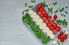 Caprese sałatka z organicznie składnikami: mozzarella ser, czereśniowi pomidory, świeży basil opuszcza, czosnek karmowy włoski tr obraz royalty free