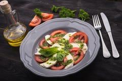 Caprese sałatka z pomidorem i mozzarellą Fotografia Royalty Free