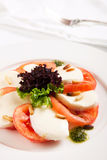 Caprese salad. Fresh Tomato and mozzarella salad Royalty Free Stock Photo