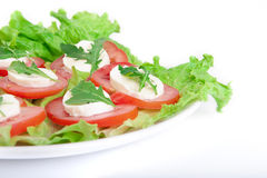 Caprese salad. Tomatoes, mozzarella and eruca on plate. Over white background Royalty Free Stock Photos