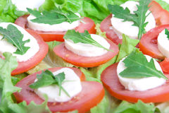 Caprese salad. Tomatoes, mozzarella and eruca on plate. Over white background Stock Images