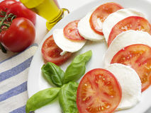 Caprese Salad. Italian food. A delicious closeup of caprese salad made with fresh tomato, mozzarella and basil Royalty Free Stock Photo