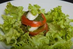 Caprese salad. Healthy Vegetarian Vegetarian Food. Caprese salad on the black background. Healthy Vegetarian Vegetarian Meal Stock Photos