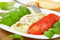 Caprese salad with bread Royalty Free Stock Image