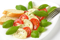 Caprese salad with bread Stock Photos
