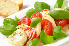 Caprese salad with bread Royalty Free Stock Photo