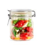 Caprese Salad in a Closed Lid Mason Jar stock photography