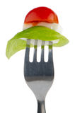 Caprese salad on the fork Royalty Free Stock Photo