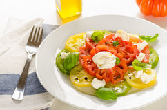 Caprese salad (fresh tomatoes, mozzarella and basil) Royalty Free Stock Photo