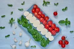 Caprese salad on the gray plate with organic ingredients: sliced mozzarella cheese, cherry tomatoes, fresh basil leaves, garlic stock photos