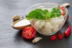 Caprese salad ingredients on dark stone background Royalty Free Stock Photos
