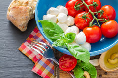 Caprese salad ingredients on dark stone background Stock Photos
