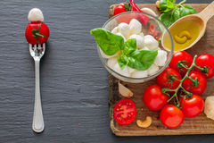 Caprese salad ingredients on dark stone background Stock Photo