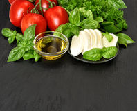 Caprese salad ingredients. Fresh basil, tomatoes, mozzarella and Stock Images