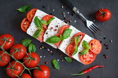 Caprese salad with ingredients Royalty Free Stock Photos