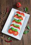 Caprese salad with ingredients Royalty Free Stock Image