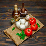 Caprese salad ingridients - Mozzarella and tomato. Caprese salad ingridients - Mozzarella cheese and tomato stock image
