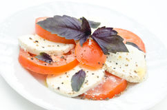 Caprese salad made with mozzarella cheese Stock Photo