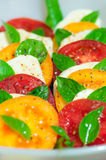 Caprese salad made of red and yellow tomatoes Royalty Free Stock Photography