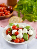 Caprese salad with mini mozzarella and cherry tomatoes. Caprese salad with mini mozzarella, cherry tomatoes and basil royalty free stock image