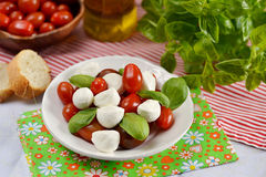 Caprese salad with mini mozzarella and cherry tomatoes. Caprese salad with mini mozzarella, cherry tomatoes and basil stock image
