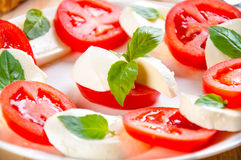 Caprese salad with mozarella cheese, tomatoes, Stock Images