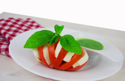 Caprese salad with mozarella cheese, tomatoes and basil Royalty Free Stock Photo