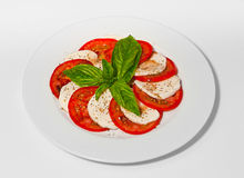 Caprese salad with mozarella, tomatoes, basil and balsamic sauce Royalty Free Stock Photo