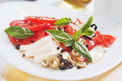 Caprese salad with mozzarella, tomato and basil Stock Photography
