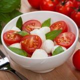 Caprese salad with mozzarella, tomato, basil on white plate Stock Photo