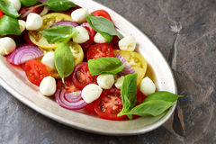 Caprese salad on old plate royalty free stock images