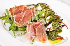 Caprese salad with parma ham Stock Images