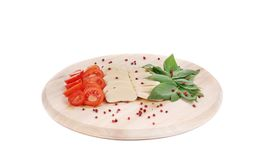 Caprese salad with pepper on platter. Stock Image