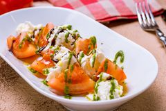 Caprese salad on a plate royalty free stock photos