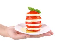 Caprese salad on plate in hand. Royalty Free Stock Photography
