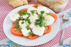 Caprese salad with rucola. Mediterranean recipe made with tomato, mozzarella, olive oil, oregano and more rocket Royalty Free Stock Image